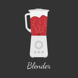 Blender vector illustration in flat design. With outlines. Dark background. With bubbles and red blood-like liquid stock illustration