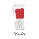 Blender vector illustration in flat design. With outlines. Light background. With bubbles and red blood-like liquid vector illustration