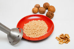 Blender and walnuts Stock Photos