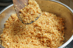 Blending cracker crust mixing with butter. Preparation of dessert Stock Photos
