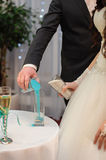 Blending of the sands at wedding ceremony Royalty Free Stock Photos