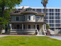 Blending traditional and modern architecture. Successful blending of Victorian and  modern architecture style in San Jose Downtown area Stock Image