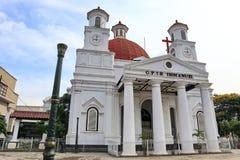 Blenduk三宝垄教会是在1753年建造并且是其中一个地标在老城市的教会 免版税库存照片