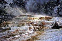 Blendungs-Farbe bei Mammoth Hot Springs in Yellowstone Nationalpark Stockbilder
