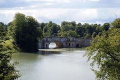 Blenheim Palace Bridge over a lake in England Stock Images