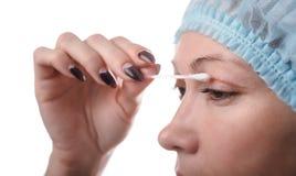 Blepharoplasty des oberen Augenlides Stockfoto