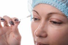 Blepharoplasty of the upper eyelid. stock photography
