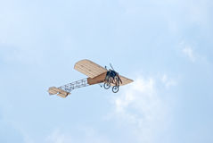 Bleriot XI airplane. ZHUKOVSKY, RUSSIA - AUGUST 12: a replica of Bleriot XI vintage airplane flies during the celebration of the centenary of Russian Air Force royalty free stock image