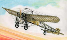 1910 Bleriot XI. Pre-WW1 Bleriot XI over France during 1914-18 Royalty Free Stock Photos
