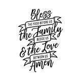 Bless the food kitchen typography. Vector vintage illustration. Royalty Free Stock Photography