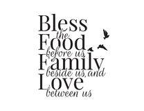 Bless the food before us, family beside us and love between us, Wording Design, Blessing, Lettering, Wall Decals Vector. Flying birds Silhouette, Art Decor vector illustration