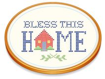 Bless This Home Embroidery Hoop Royalty Free Stock Photo