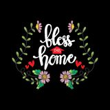 Bless this home hand lettering. Motivational quote vector illustration