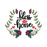 Bless this home hand lettering. Motivational quote stock illustration