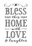 Bless this Home with Love and Laughter. Calligraphy Typography Design Printable with greenery and floral accents and heart icon vector illustration