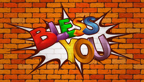 Bless you inscription on the wall of red brick Royalty Free Stock Images