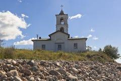 Blessed圣母玛丽亚的介绍教会寺庙的在沃洛格达州地区的村庄Goritsy 图库摄影
