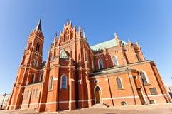 Blessed玛丽教会的Dormition (1897)在罗兹,波兰 库存照片