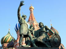 Blessed basil cathedral and Statue Stock Image