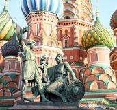Blessed basil cathedral and Statue of Minin and Po Royalty Free Stock Photos