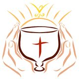 A blessed bowl with a cross in hand, a shining sun and a flying. Bird vector illustration