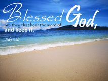 Blessed are they that hear the word of God with background ocean view and a lady look up to the sky design for Christianity. Read inspirational Bible verses and royalty free stock images
