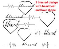 Blessed with heartbeat and love. Blessed design. Here are 5 different type blessed design with love shape and heartbeat. These comes with high resolution eps vector illustration