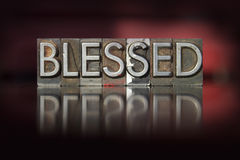Blessed Letterpress. The word Blessed written in vintage letterpress type stock image