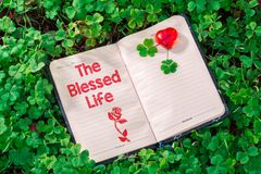 The blessed life text in notebook royalty free stock images