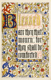 Blessed Are They That Mourn For They Shall Be Comf. Orted. From Christs Sermon on the Mount, St Matthews Gospel Ch. 5:4. Beautiful calligraphy and illumination vector illustration