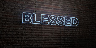 BLESSED -Realistic Neon Sign on Brick Wall background - 3D rendered royalty free stock image. Can be used for online banner ads and direct mailers royalty free illustration