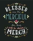 Blessed sind die barmherzige Hand, die typografischen Vektor Art Poster beschriftet stock abbildung