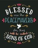 Blessed sont la main de conciliateurs marquant avec des lettres le vecteur typographique Art Poster Image libre de droits