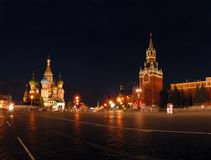Blessed Vasily's temple and Kremlin in Moscow. Russia. The red area stock photos