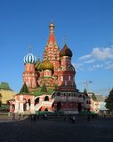 Blessed Vasily's temple in Moscow. Russia. The red area stock photo