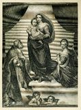 The Blessed Virgin and Child Religion. Antique monochrome illustration of the blessed virgin holding a child. Angela on the bottom of the image with a man and stock photos