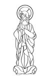 Blessed Virgin Mary. In black and white contour drawing vector illustration