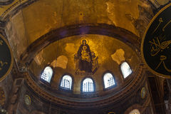 Blessed Virgin Mary with baby Jesus Byzantine mosaic art on the Hagia Sophia apse in Istanbul, Turkey Stock Photos