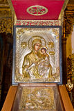 Blessed Virgin Mary and Son. Orthodox icons in a church Stock Images