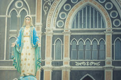 The Blessed Virgin Mary statue standing in front of The Roman Catholic Diocese. Royalty Free Stock Image