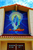 Blessed Virgin Mary. Tile mural at a old Catholic church royalty free stock images