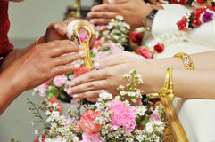 Blessed water at Thai wedding ceremony Royalty Free Stock Images
