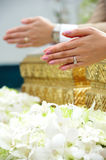 Blessed water at Thai wedding ceremony Stock Photos