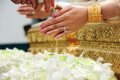 Blessed water at Thai wedding ceremony Royalty Free Stock Photos