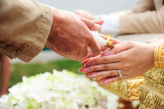 Blessed water at Thai wedding ceremony Stock Photography