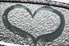 Blessez l'image avec la neige sur la fenêtre Peinture d'hiver pour les couples romantiques Surprise pour le mari ou l'épouse Pass images libres de droits
