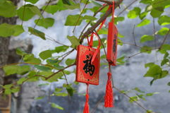 Blessing card. The red blessing card hangs on the tree Royalty Free Stock Image