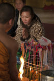 Blessing cerimony in buddhist temple in Ventiane, Laos. Stock Photo