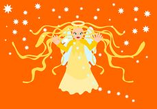 Blessing guardian angel to fiery orange sky. With stars Royalty Free Stock Photos