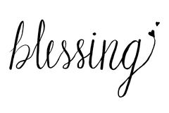 Blessing by hand drawn calligraphy design black blush on white background Royalty Free Stock Images